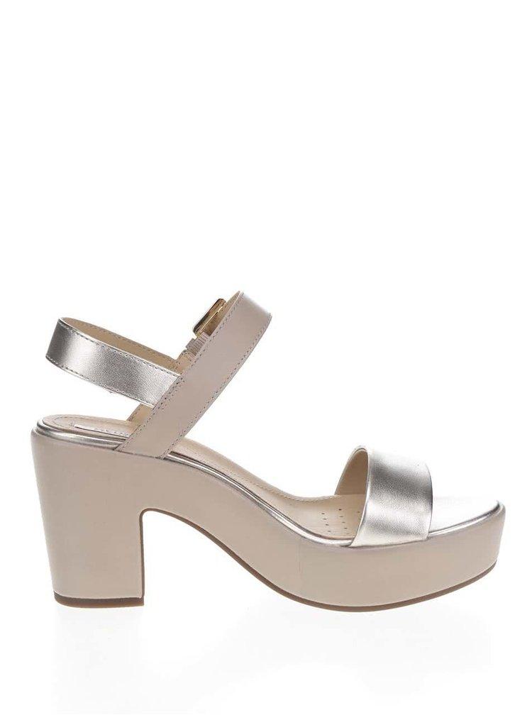 Béžové kožené sandálky na širokém podpatku Geox Zaferly