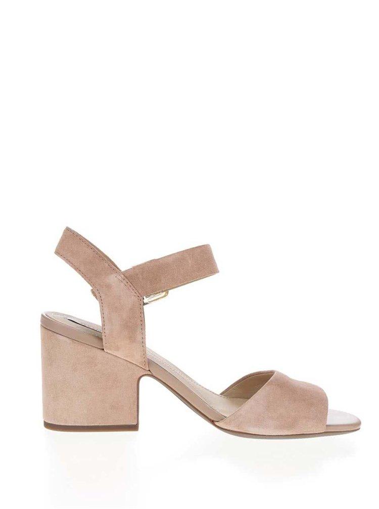 Světle hnědé semišové sandálky na širokém podpatku Geox Marilyse