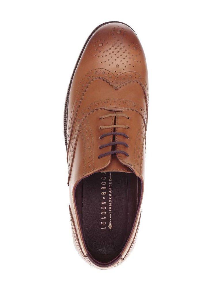 Pantofi maro deschis London Brogues Gatz Oxford din piele