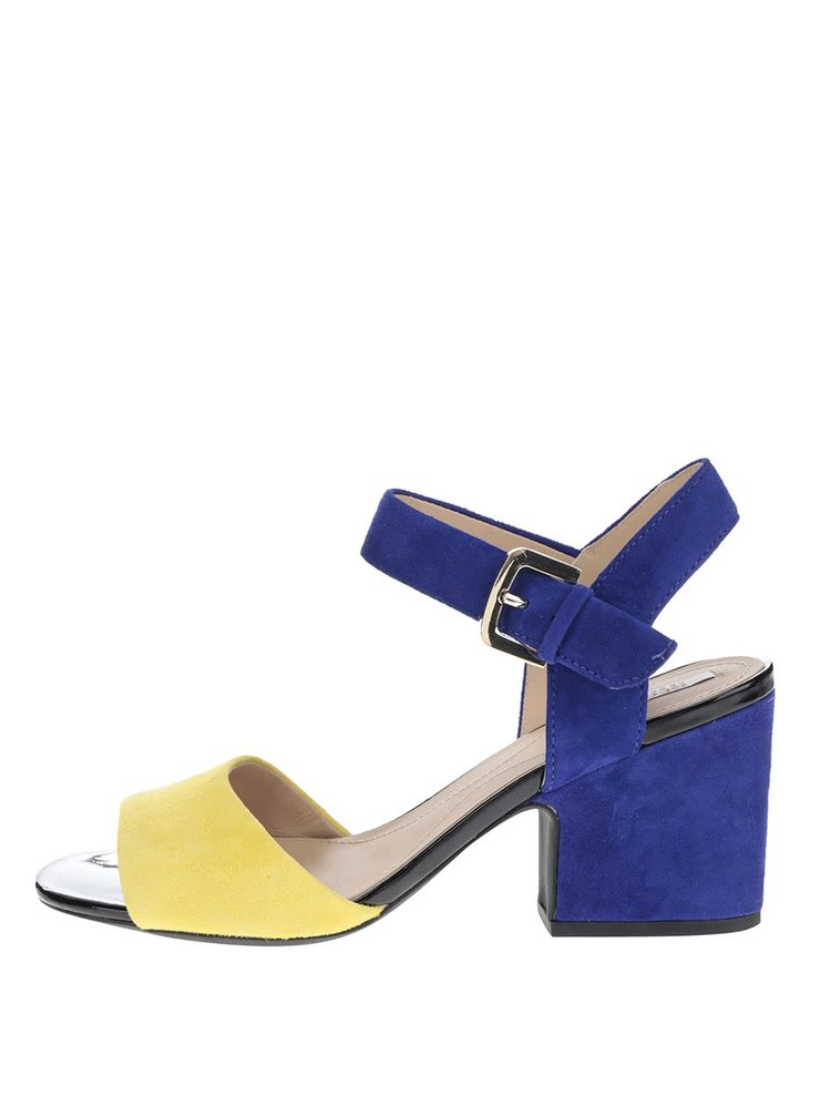 Žluto-modré semišové sandálky na širokém podpatku Geox Marilyse