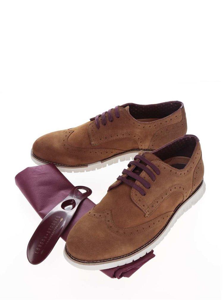 Pantofi Brogue maro London Brogues Gatz Derby din piele intoarsa