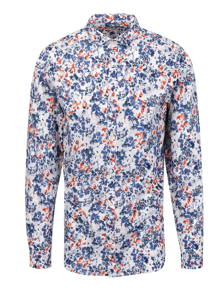 Cămașă alb&albastru Jack & Jones Day cu imprimeu floral