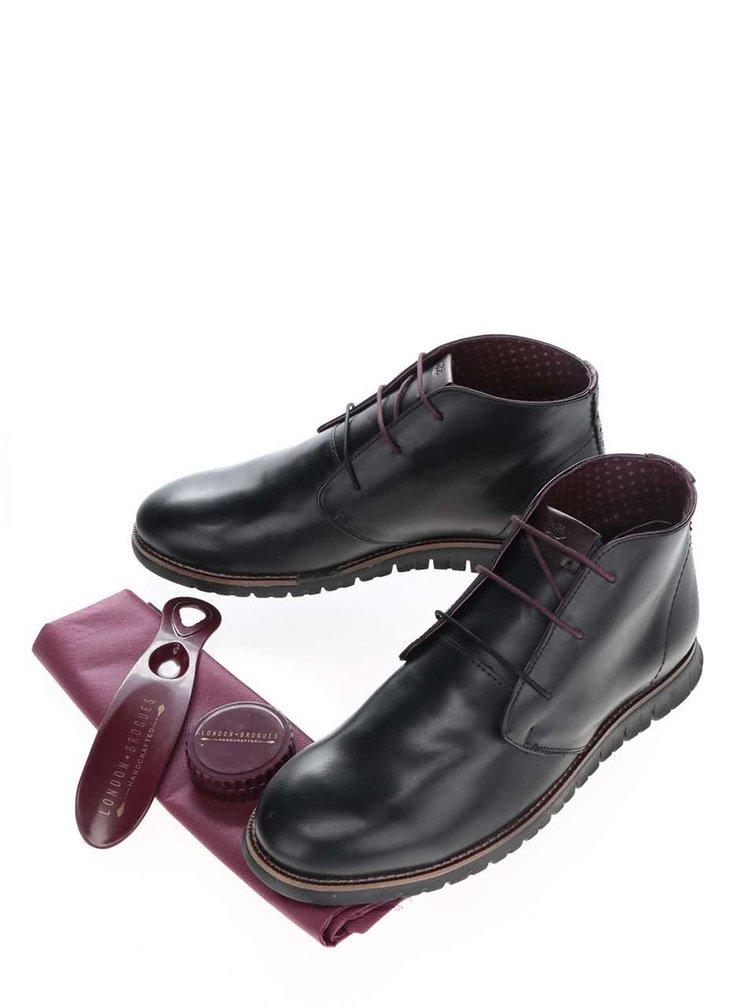 Černé kožené kotníkové boty London Brogues Gatz Hi