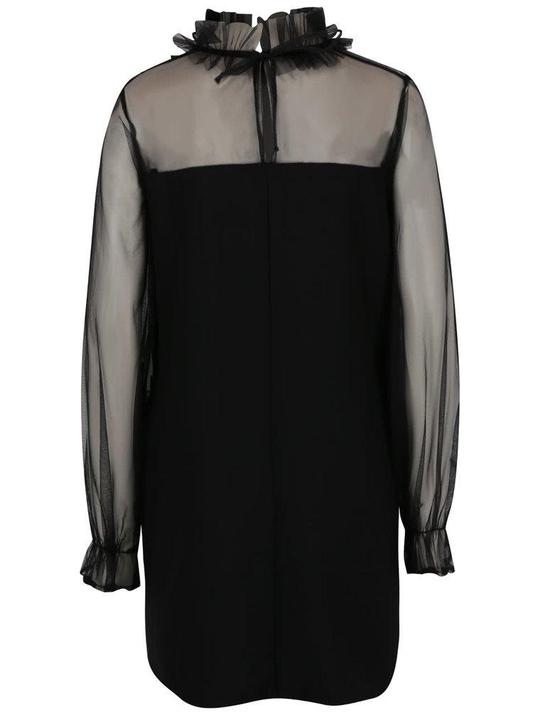Černé volné minišaty s průsvitným sedlem a rukávy PULSE