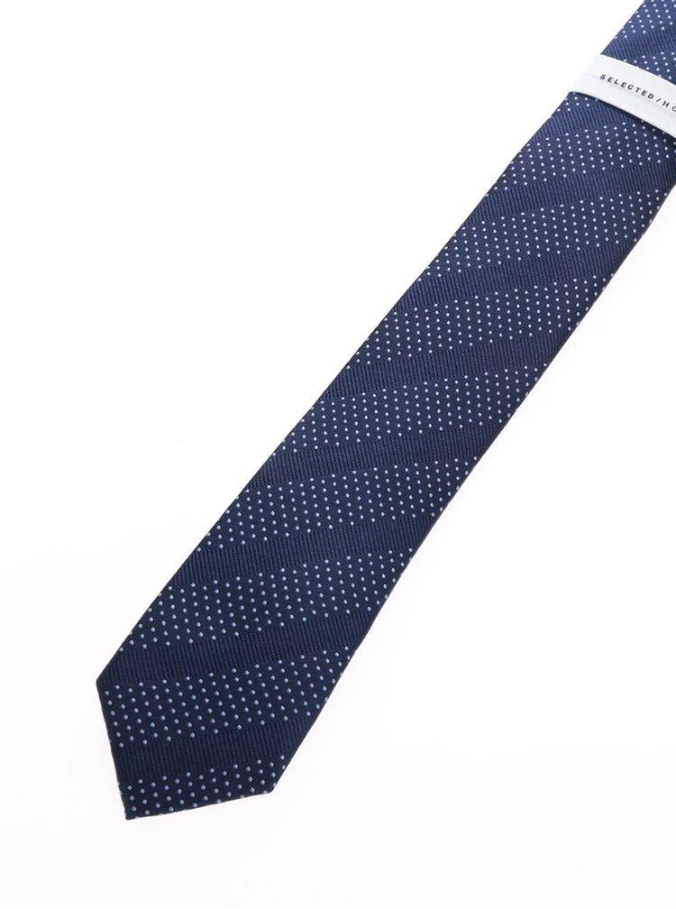 Tmavě modrá puntíkovaná hedvábná kravata s pruhy Selected Homme Nolan