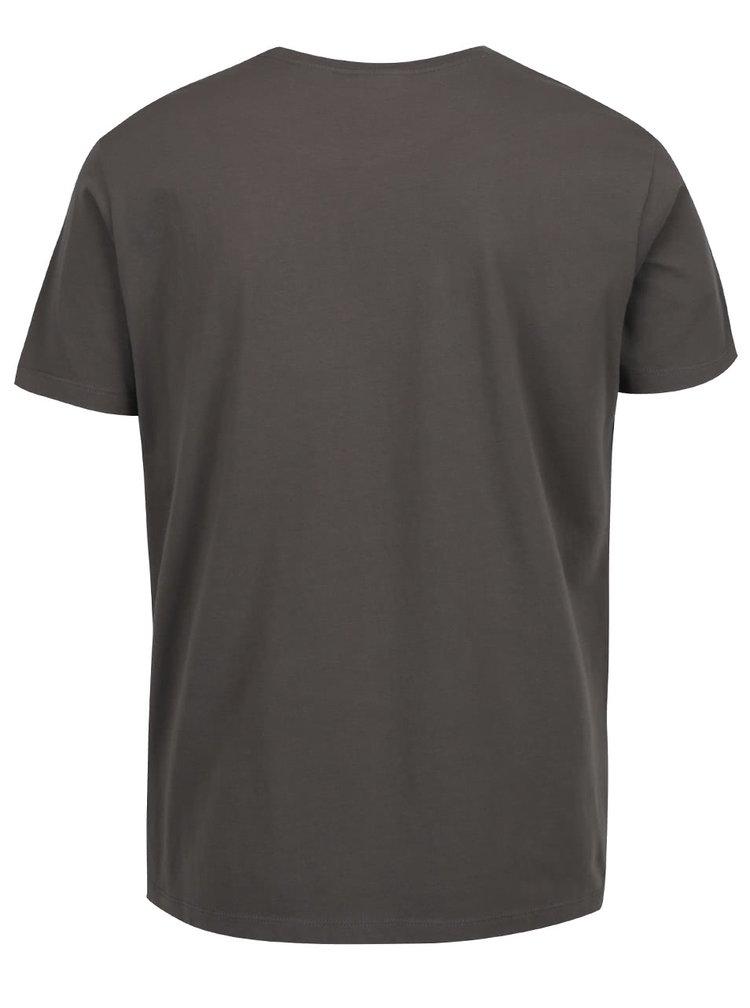 Zelené pánské triko s krémovým potiskem s.Oliver