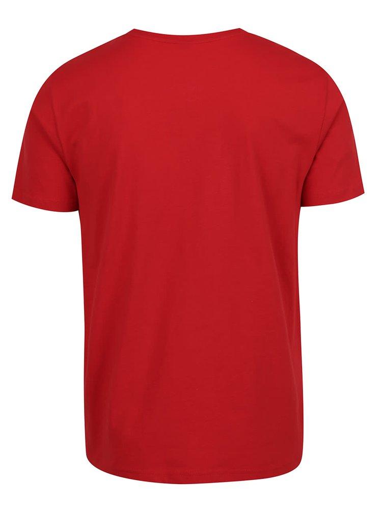 Červené pánské triko s bílým potiskem s.Oliver