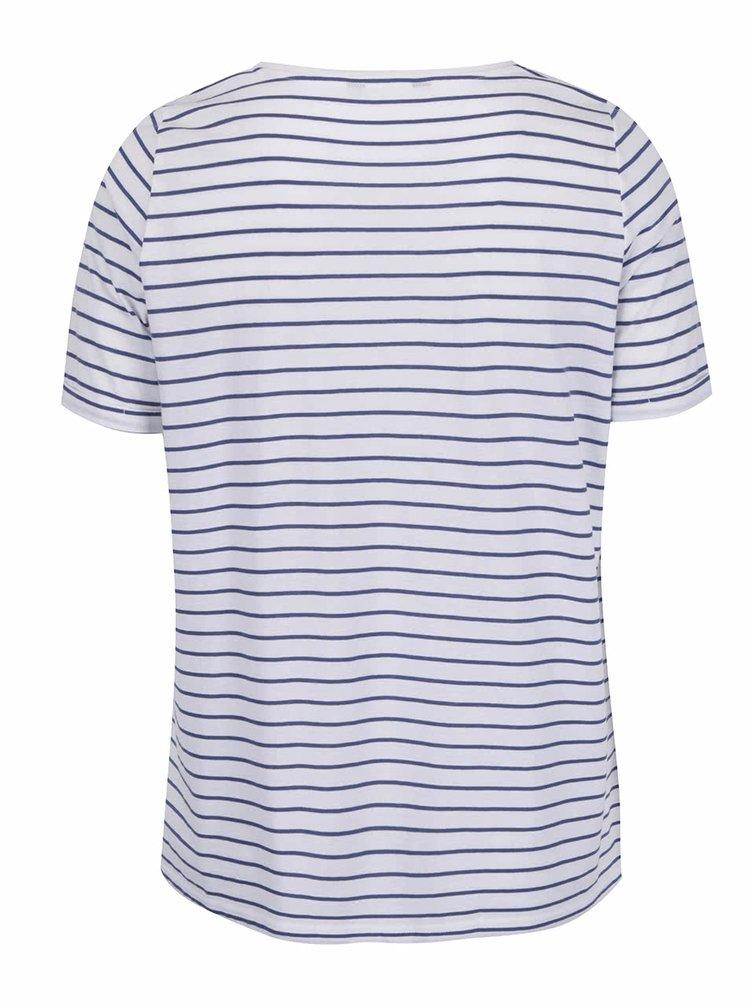 Modro-bílé pruhované tričko s nápisem Ulla Popken