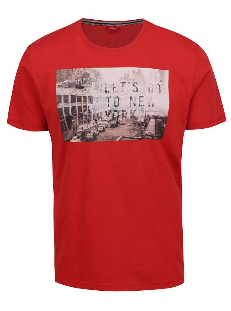 Červené pánské triko s potiskem s.Oliver