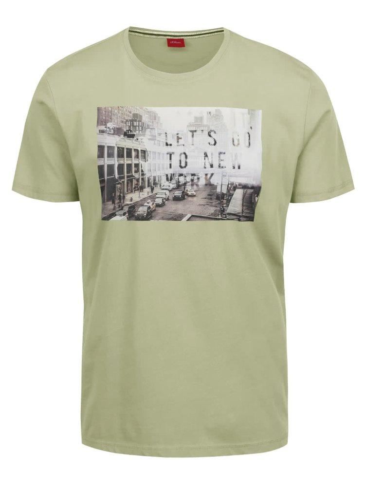Zelené pánské triko s potiskem s.Oliver