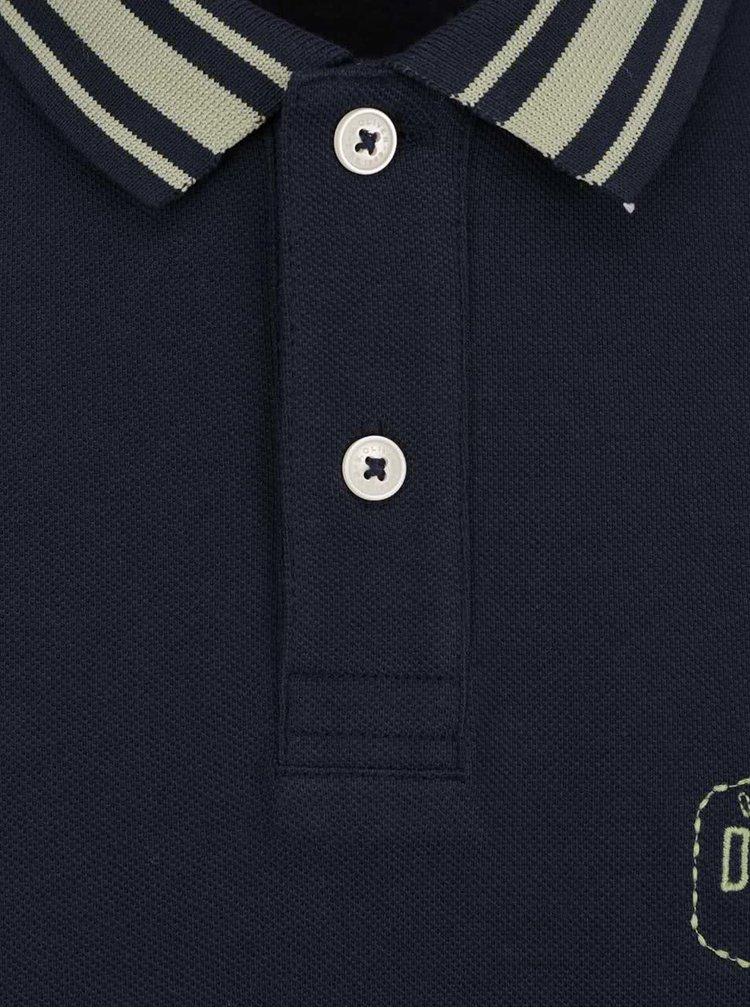 Tricou polo albastru închis s.Oliver din bumbac cu print