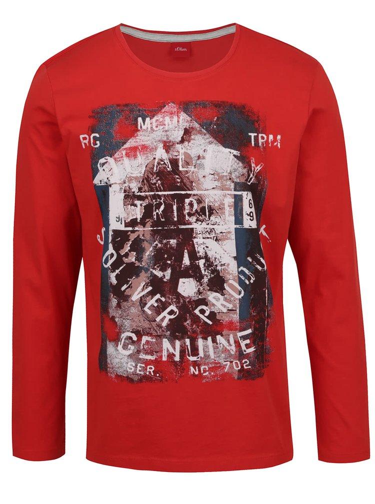 Červené pánské triko s dlouhým rukávem s.Oliver