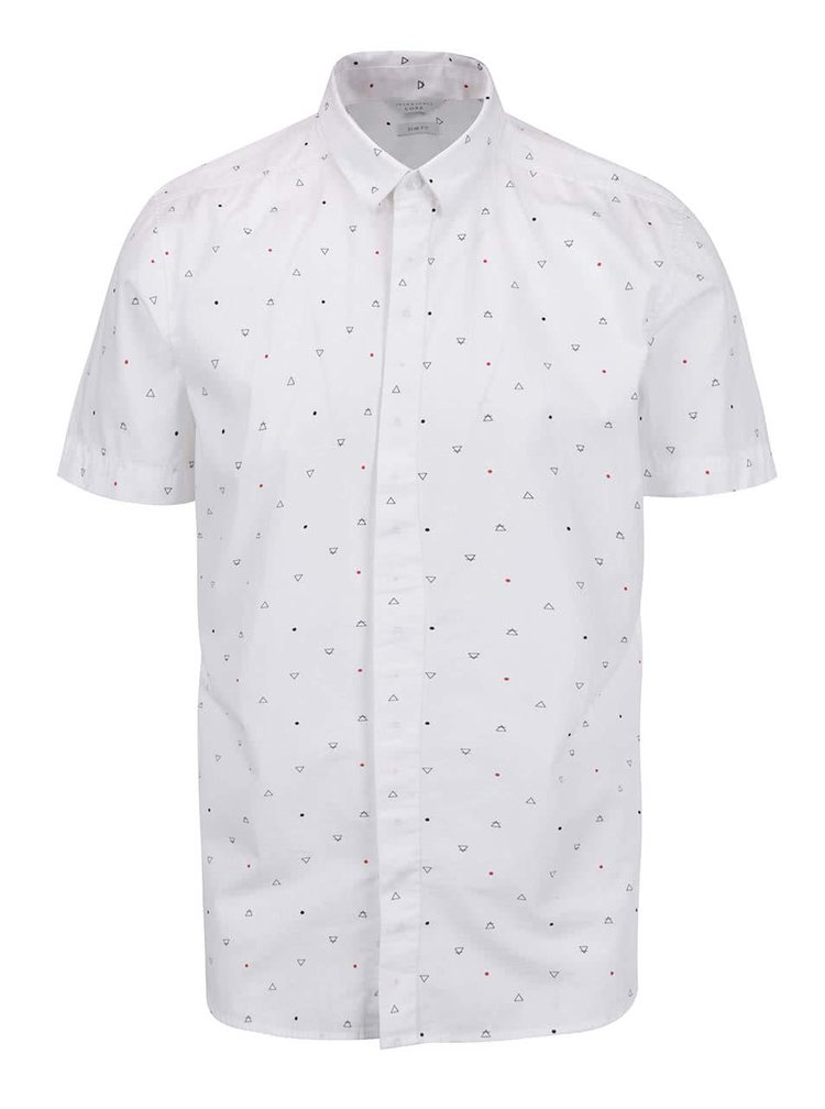 Bílá košile s drobným vzorem a krátkým rukávem Jack & Jones Spinner