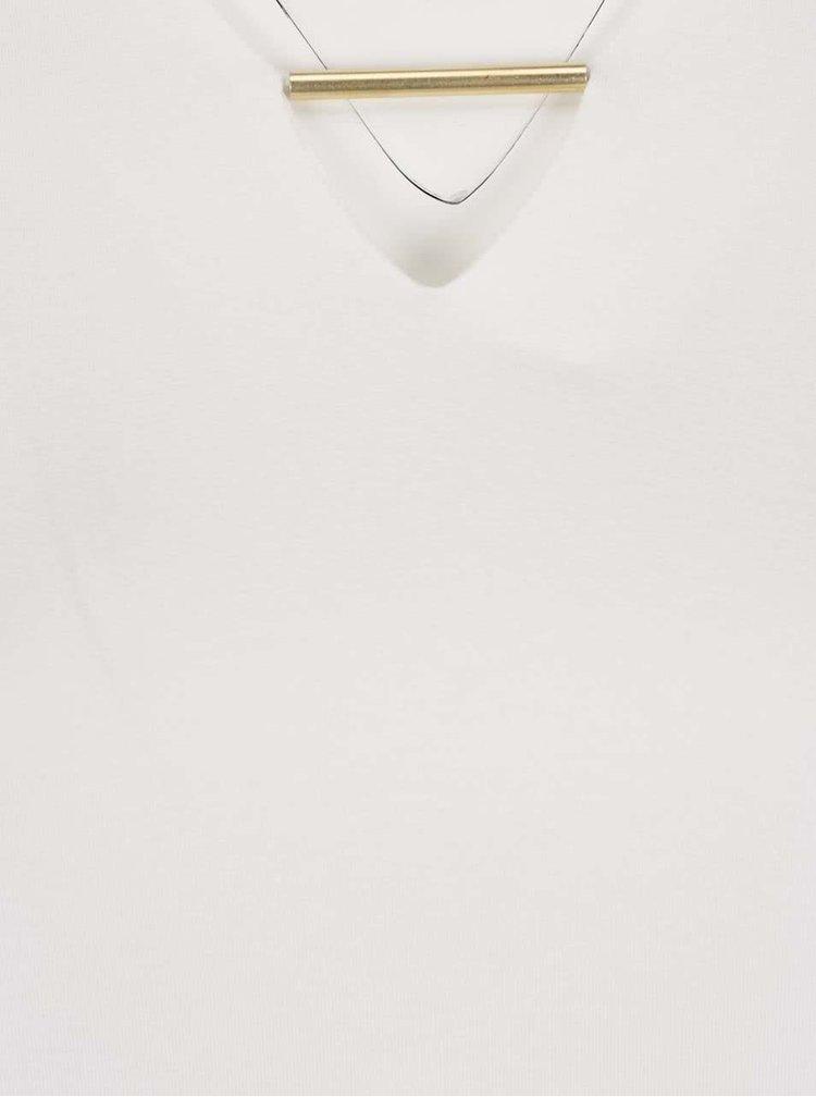 Krémový top s ozdobou v dekoltu Ulla Popken