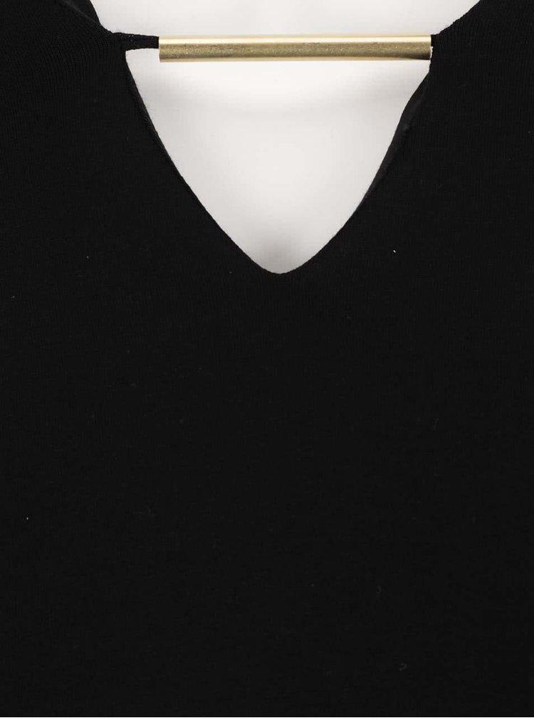 Černý top s ozdobou v dekoltu Ulla Popken