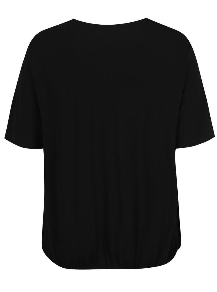 Tricou negru Ulla Popken cu detaliu auriu