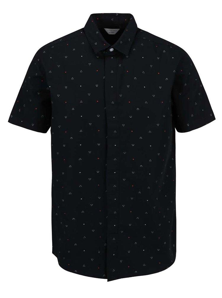 Černá košile s drobným vzorem a krátkým rukávem Jack & Jones Spinner