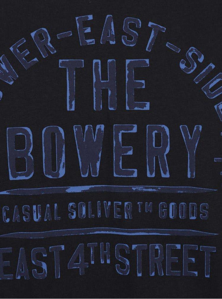 Tricou gri închis s.Oliver din bumbac cu print