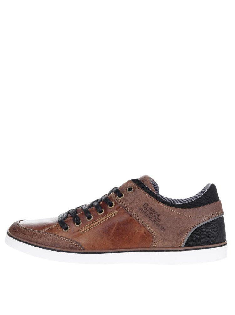 Pantofi sport maro cu negru Bullboxer din piele