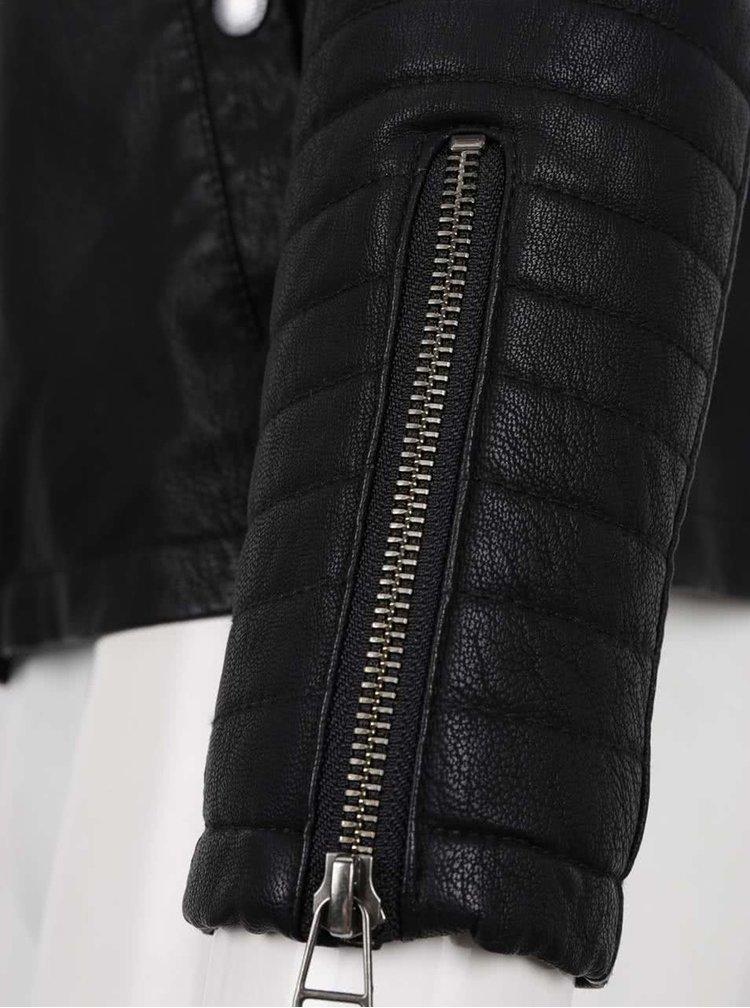 Černá koženková bunda s prošívanými rameny Jack & Jones Your