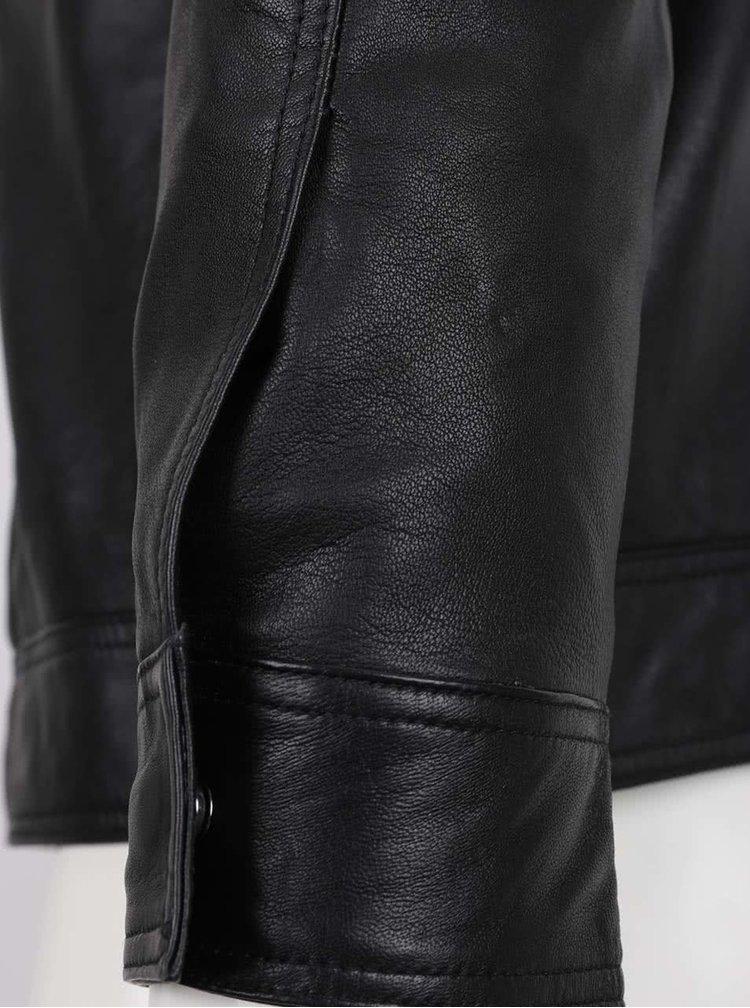 Jachetă neagră Jack & Jones Ernst din piele