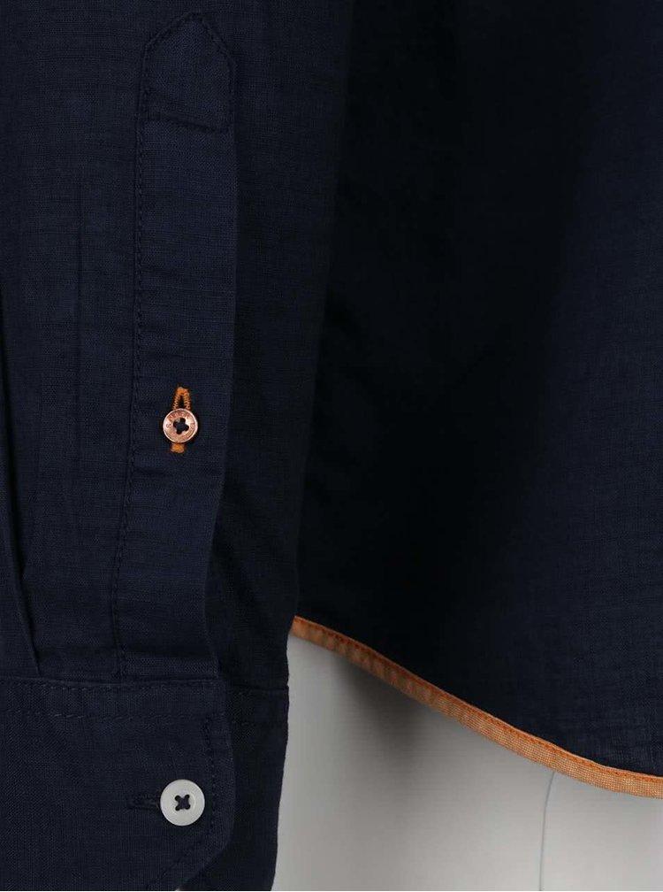 Cămașă albastru închis s.Oliver din bumbac cu guler tunică și buzunar