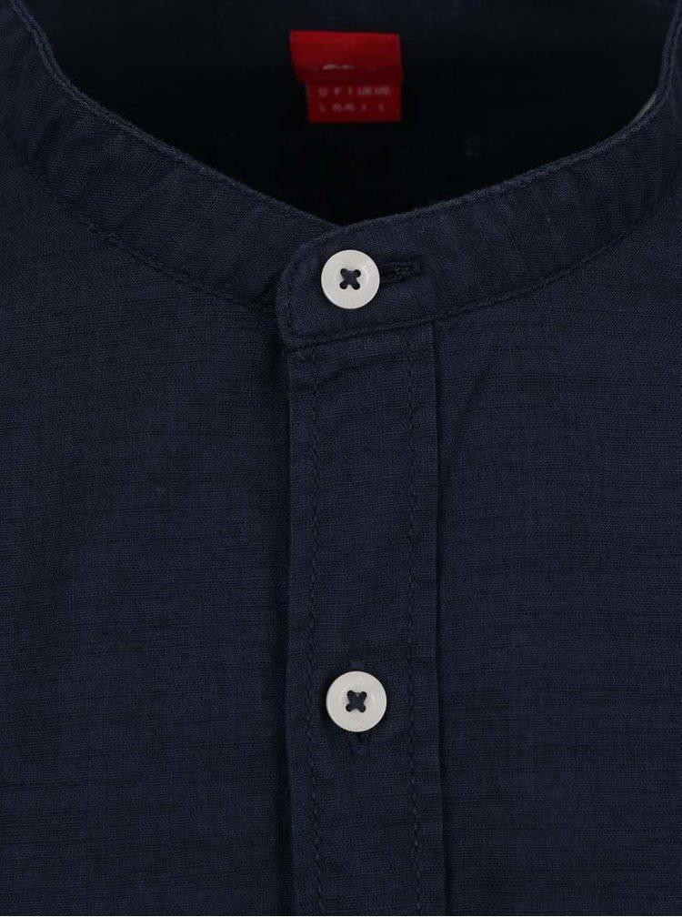 Camasa albastru inchis s.Oliver din bumbac cu guler tunica si buzunar