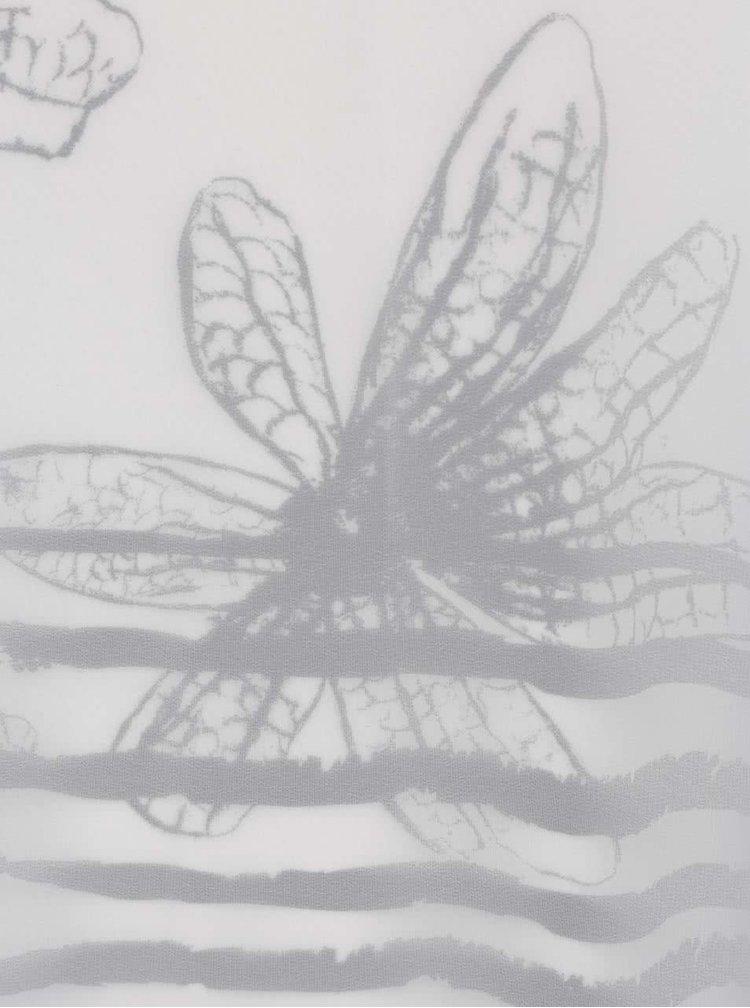 Tricou crem & negru Ulla Popken cu imprimeu floral