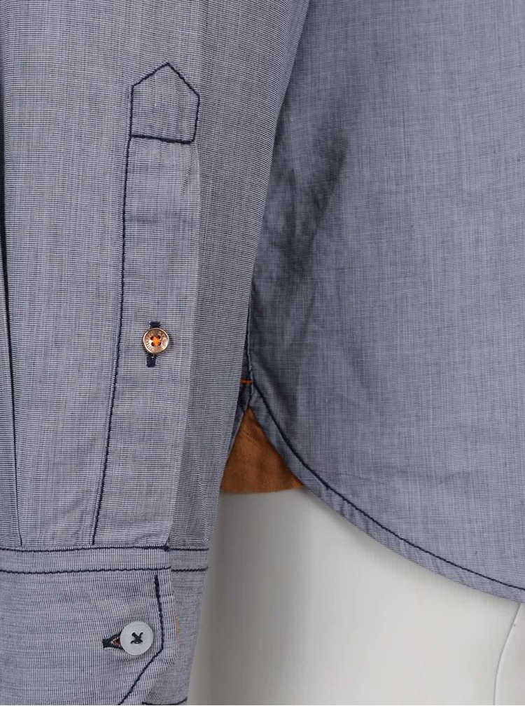 Camasa albastru inchis s.Oliver din bumbac cu buzunar la piept