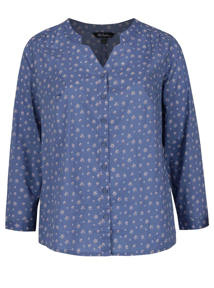 Modrá květovaná košile bez límečku Ulla Popken