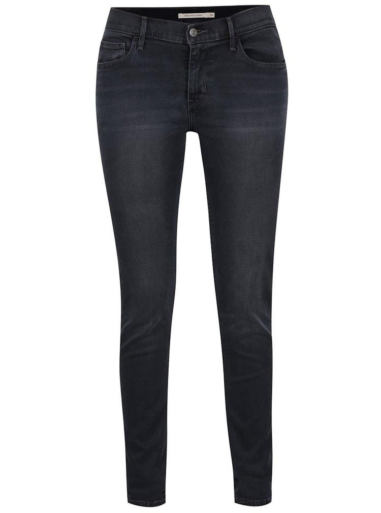 Černé dámské skinny džíny s vyšisovaným efektem Levi's®