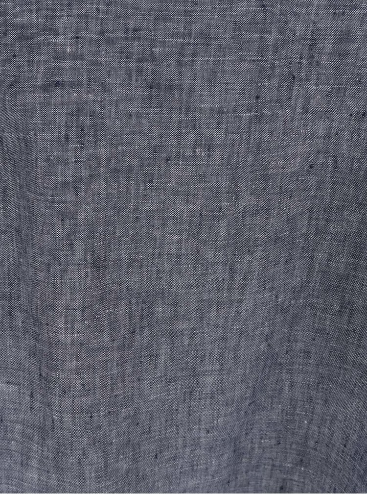Tmavě modrá lněná žíhaná halenka bez rukávů Ulla Popken