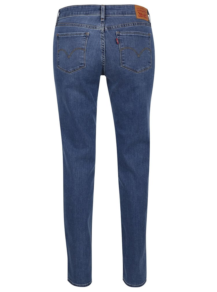 Modré dámské rovné džíny s vyšisovaným efektem Levi's®