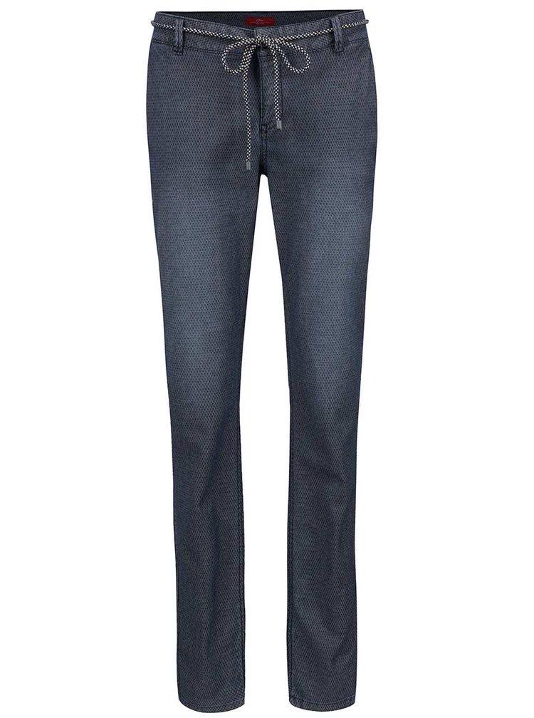 Tmavě modré vzorované dámské chino kalhoty s páskem s.Oliver