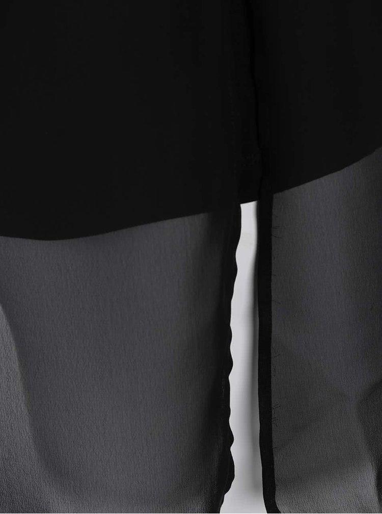 Černá halenka s flitry a překládaným zadním dílem Ulla Popken