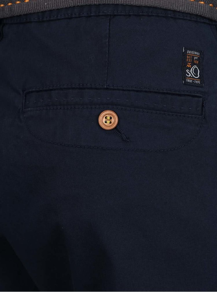 Pantaloni albastru inchis s.Oliver cu curea neagra