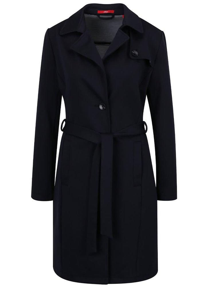 Modrý dámský dlouhý kabát se zavazováním s.Oliver