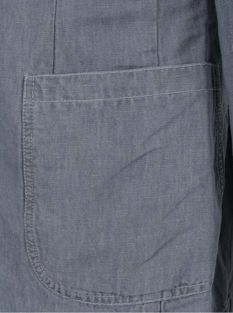 Šedomodré pánské lněné sako s.Oliver