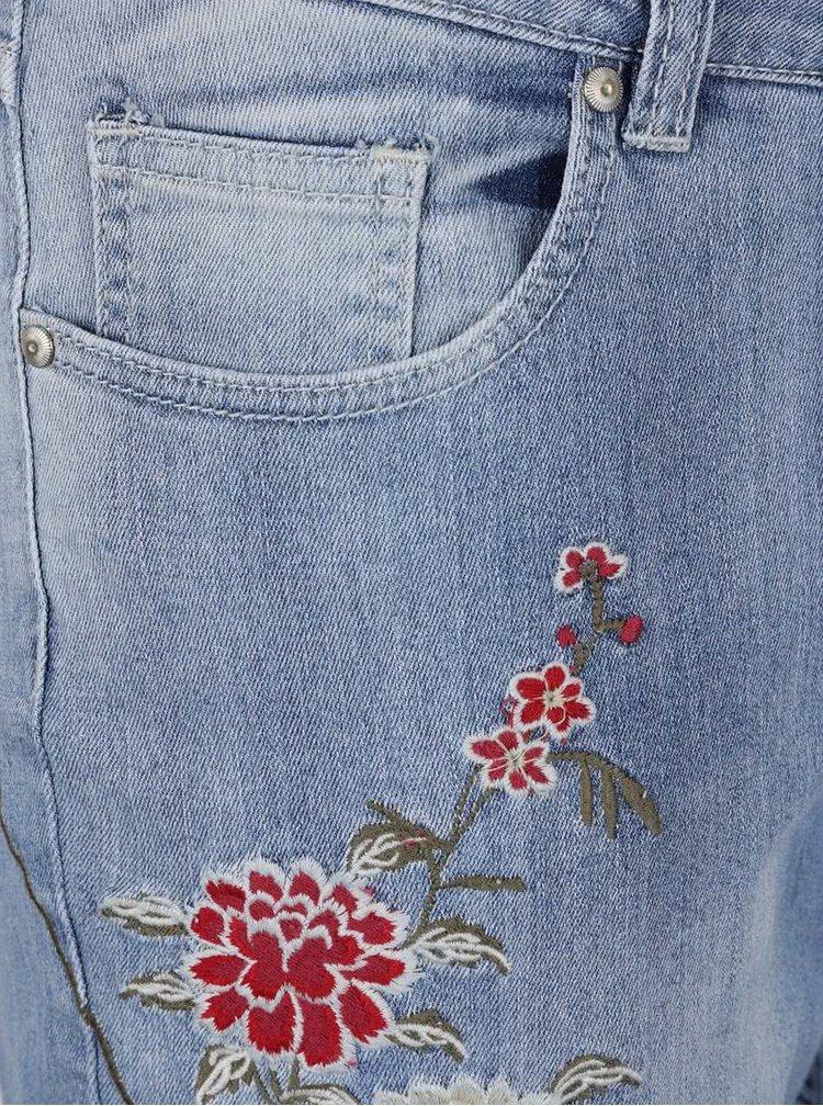 Světle modré rovné džíny s výšivkami Ulla Popken