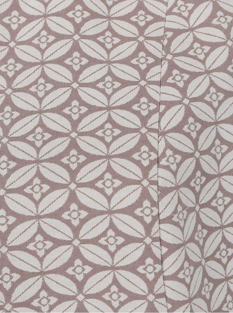 Béžové krátké vzorované sako s 3/4 rukávem Ulla Popken