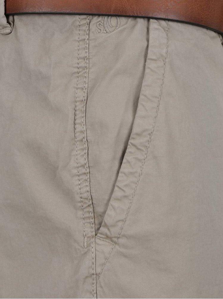 Pantaloni scurți bej s.Oliver cu curea maro