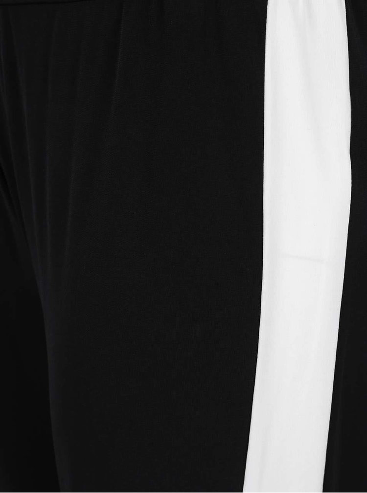 Pantaloni negri Ulla Popken cu dungi albe pe lateral