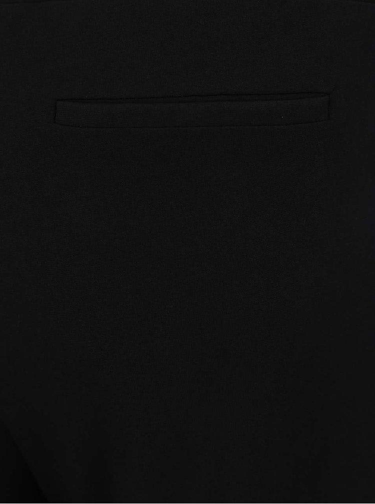 Černé rovné kalhoty s krémovými pruhy na bocích Ulla Popken