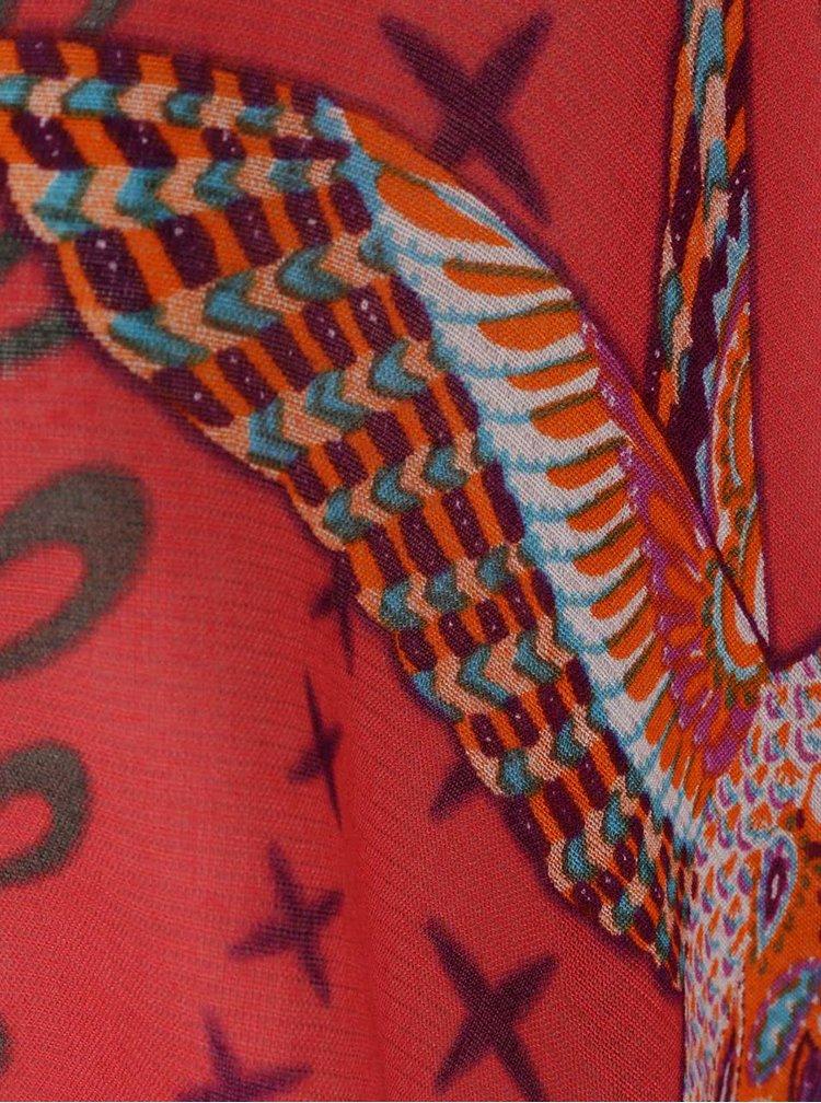 Poncho roșu Desigual White Bird