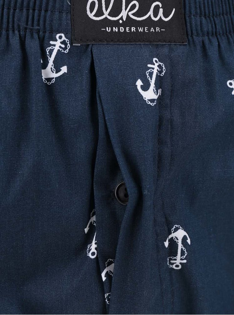 Tmavě modré pánské trenýrky s motivem kotev El.Ka Underwear