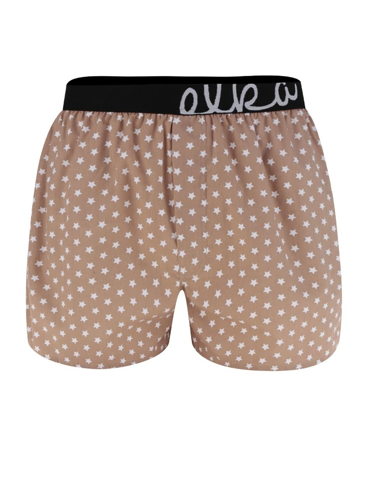 Hnědé pánské trenýrky s motivem hvězd El.Ka Underwear