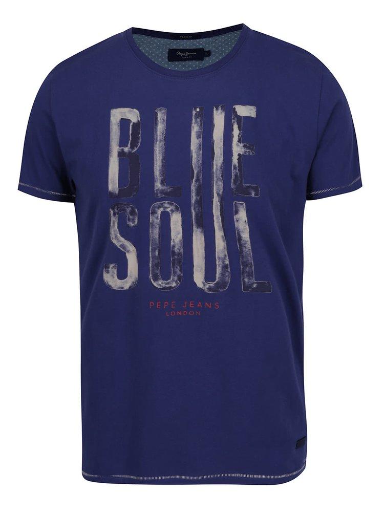 Tmavě modré pánské triko s potiskem Pepe Jeans Walter
