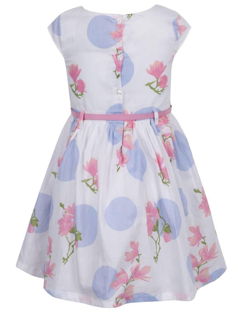 Krémové dievčenské šaty s opaskom a motívom kvetín a bodiek 5.10.15.