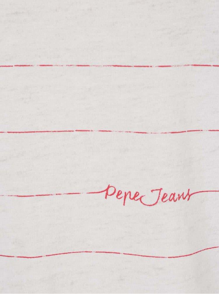 Buză albă Pepe Jeans Uma cu model în dungi