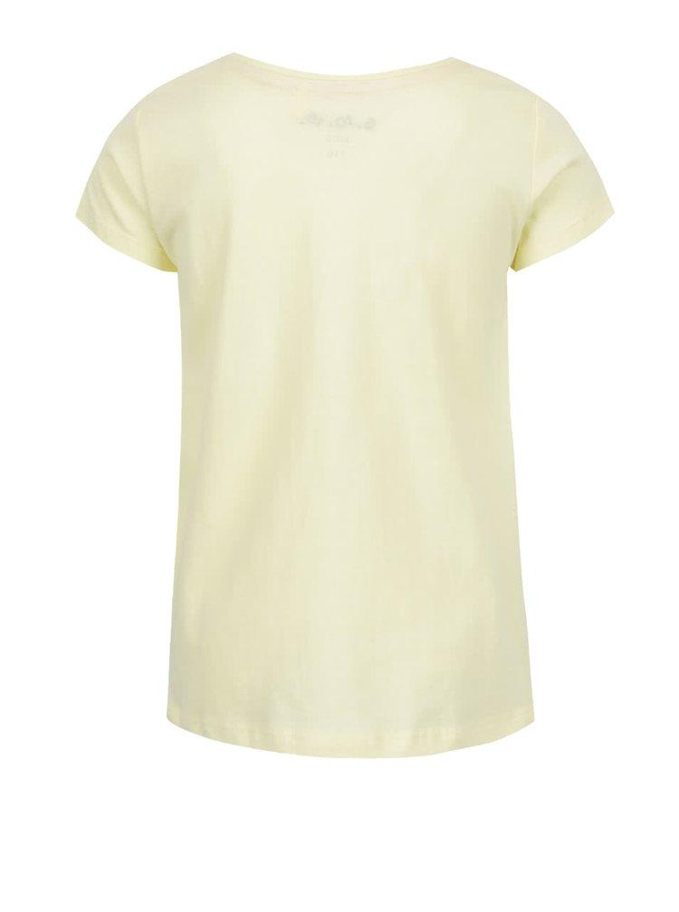 Žluté holčičí tričko s potiskem psa 5.10.15.